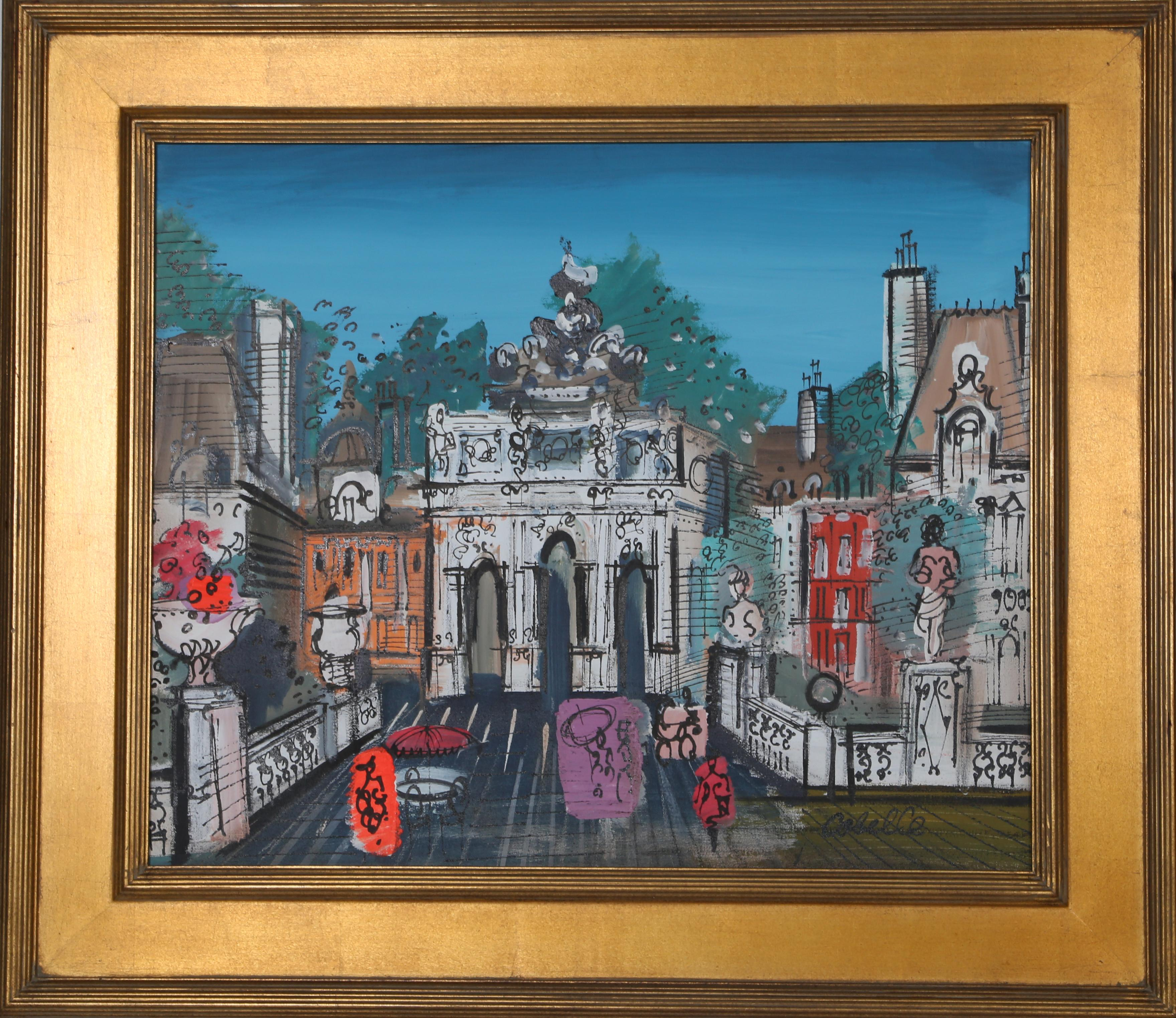 Town, Framed Acrylic Painting by Charles Cobelle