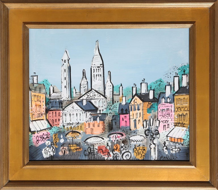 Artist:  Charles Cobelle, French (1902 - 1994) Title:  View of Paris 18 Year:  circa 1958 Medium:  Acrylic on Canvas, signed Size:  20 x 24 in. (50.8 x 60.96 cm) Frame Size:  27.5 x 31.5 inches