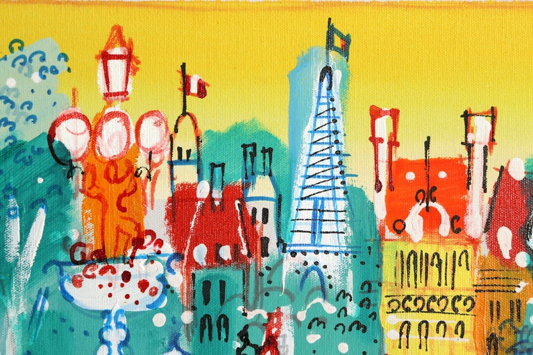 View of the Eiffel Tower, Paris Landscape - Fauvist Painting by Charles Cobelle