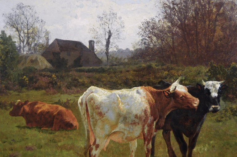 19th Century landscape oil painting of cattle grazing  - Brown Animal Painting by Charles Collins