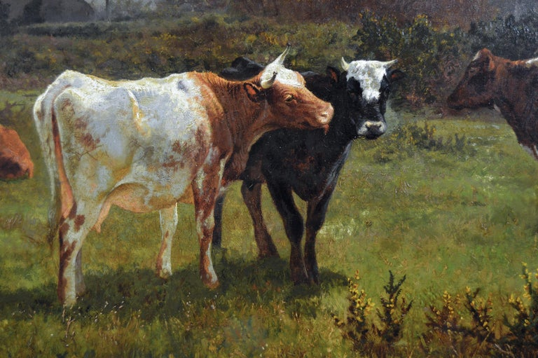 19th Century landscape oil painting of cattle grazing  For Sale 1