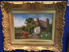 An English Cottage scene with pony, ducks and  chickens being fed, in Cornwall.