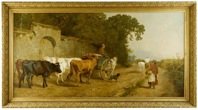 Going To Market A Large English Genre Scene with Cattle  - Painting by Charles Collins