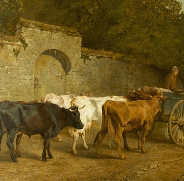 Going To Market A Large English Genre Scene with Cattle  - Victorian Painting by Charles Collins