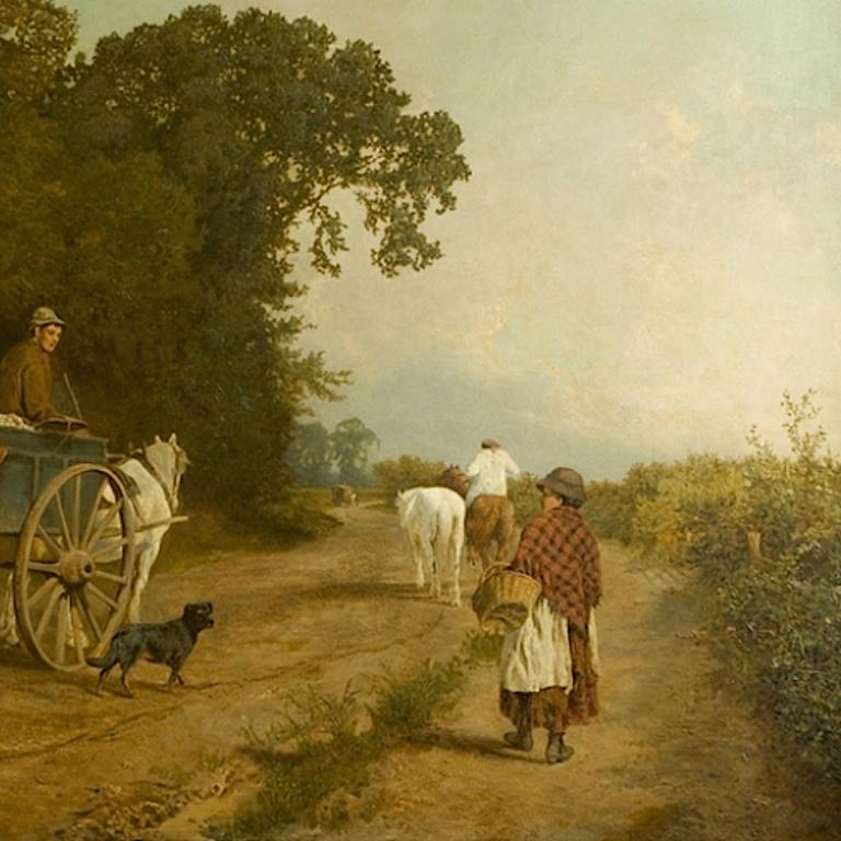 Going To Market A Large English Genre Scene with Cattle  - Brown Landscape Painting by Charles Collins