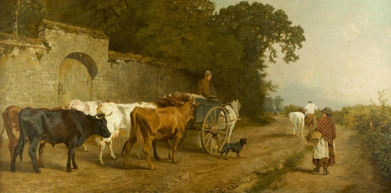 Charles Collins Landscape Painting - Going To Market A Large English Genre Scene with Cattle
