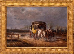 19th Century British oil painting of a mail coach and a shepherd