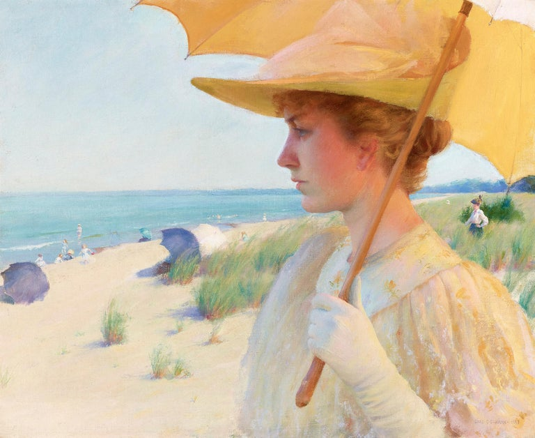 Charles Courtney Curran Figurative Painting - On the Shores of Lake Erie