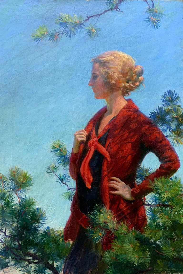 Scarlett in Gold, American Impressionist Female Portrait in Nature, 1920 - Painting by Charles Courtney Curran