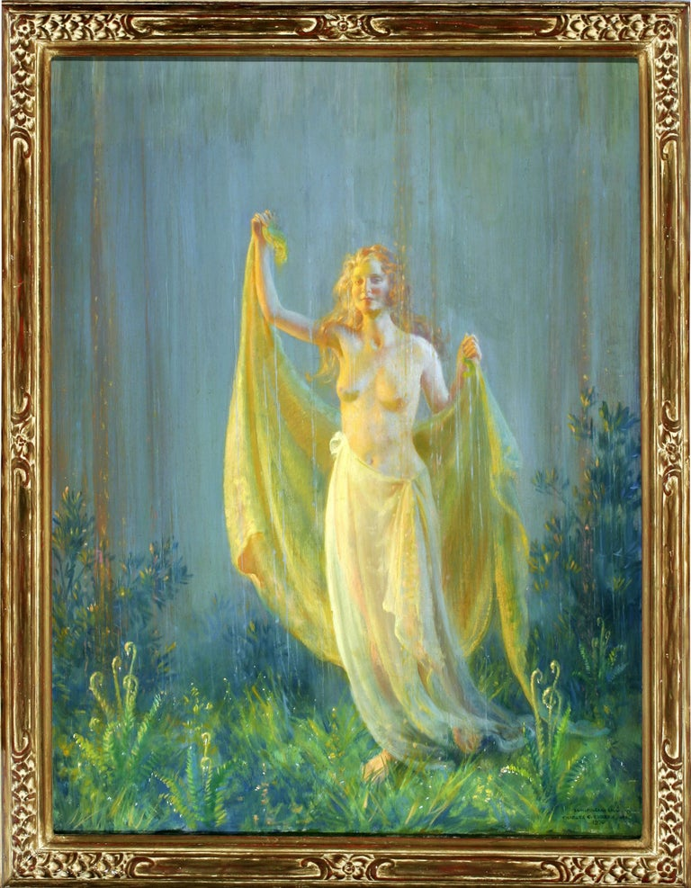 Charles Courtney Curran Figurative Painting - Sunshine and Rain, Semi Nude women in joyful moment