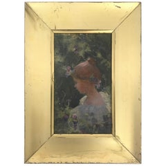 Charles Courtney Curran '1861-1942', Oil on Artist's Board, Art Nouveau Portrait