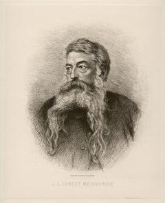 Jean-Louis Ernest Meissonier, portrait etching by Charles Courtry, 1883