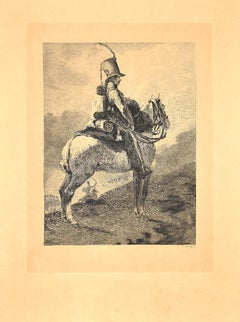 The Sentinel - Original Etching by Charles Coutry - Late 19th Century