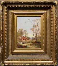 Antique American Hudson River School Sunset Landscape Figure Signed Oil Painting