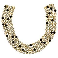 Charles De Temple Four Strand Pearl, Onyx and Diamond Beaded Collar, circa 1980
