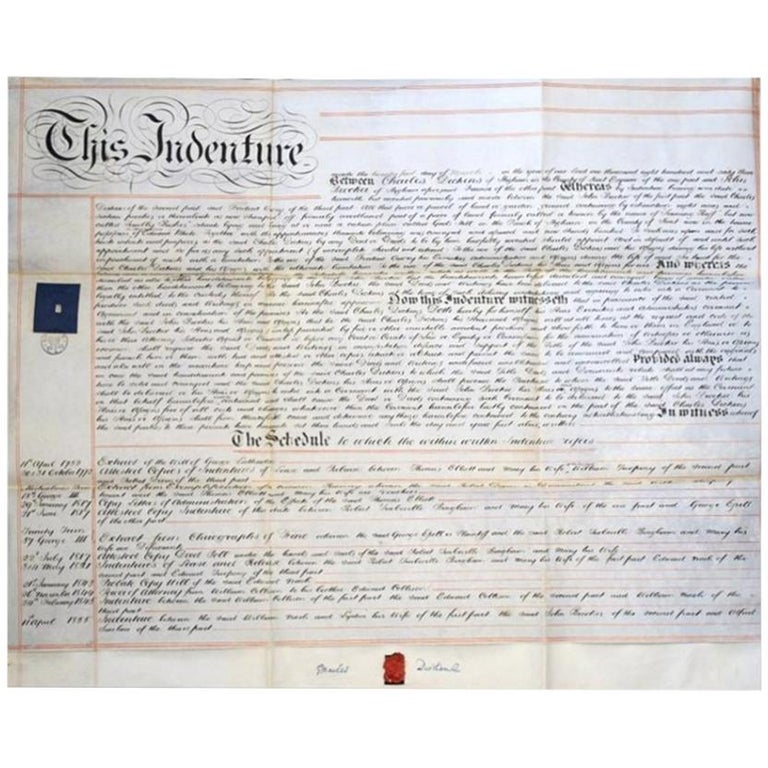 Charles Dickens Signed Document For Sale