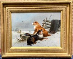 19th century Scottish winter landscape oil, with two Border Collies and sheep