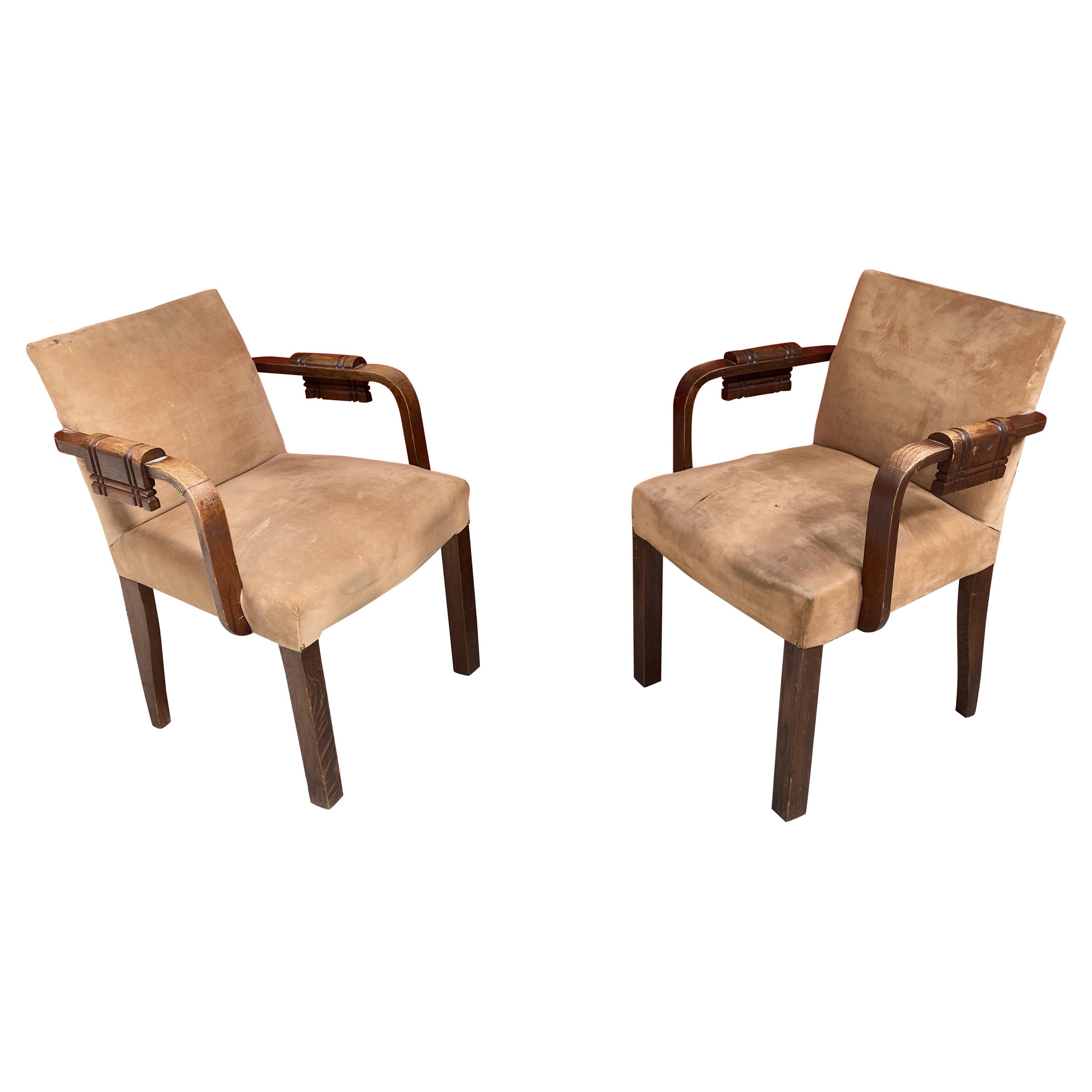 Charles Dudouyt, 2 Art Deco Oak and Leather Chairs, circa 1940