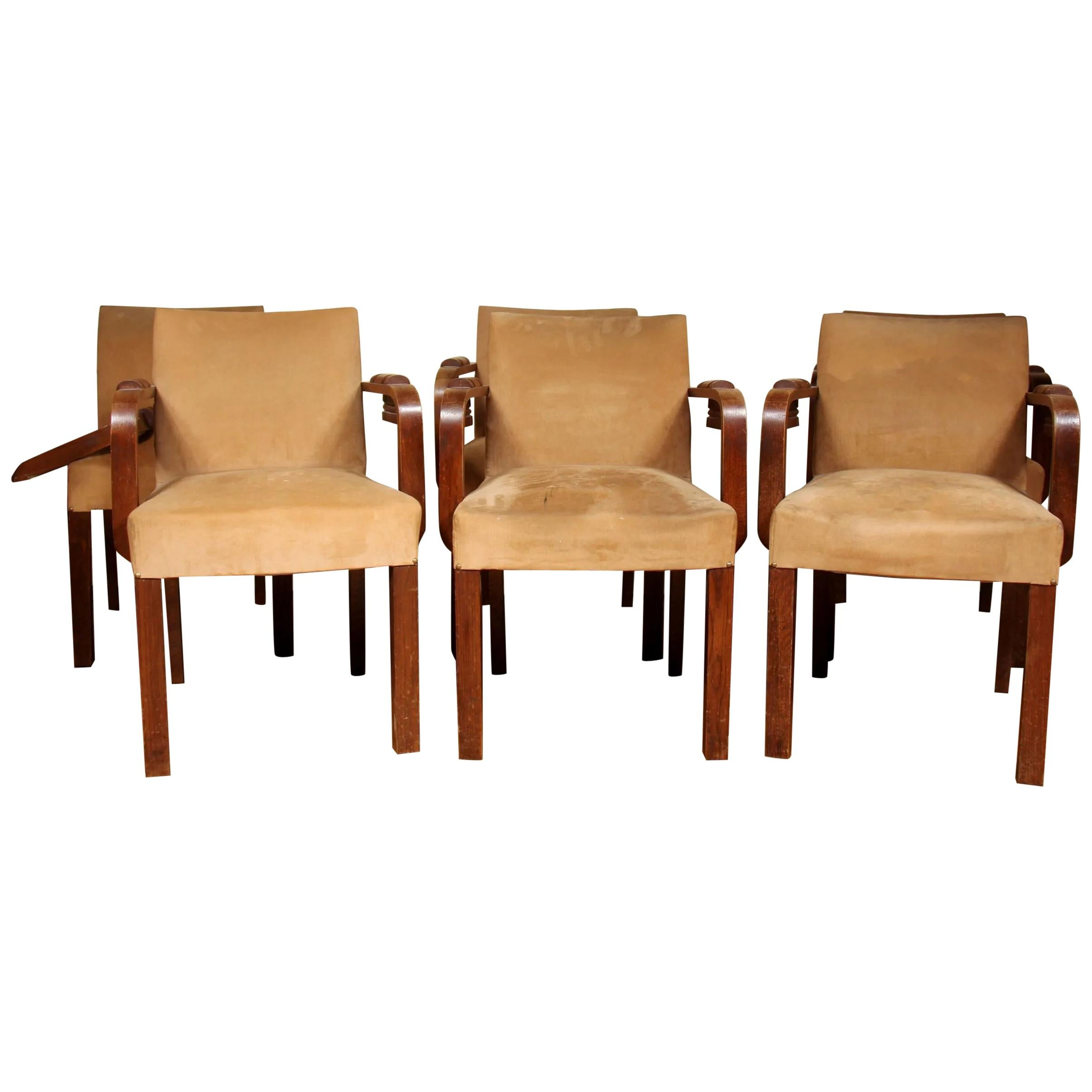 Charles Dudouyt, 6 Art Deco Oak and Leather Chairs, circa 1940