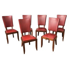 Charles Dudouyt, 6 Art Deco Oak Chairs, circa 1940