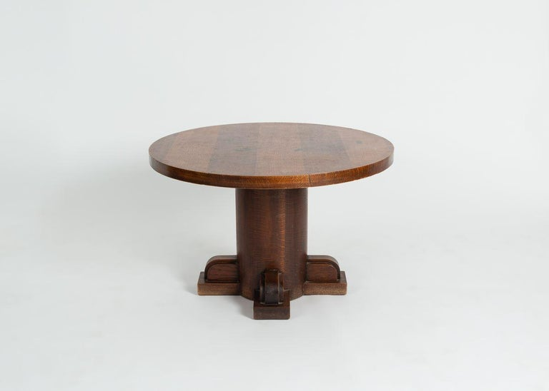 French Charles Dudouyt, Art Deco Oak Coffee Table, France, circa 1930 For Sale