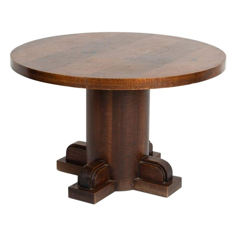 Charles Dudouyt, Art Deco Oak Coffee Table, France, circa 1930 For Sale