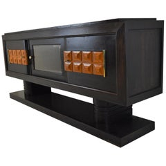 Charles Dudouyt Art Deco Sideboard in Darkstained Oak with Vitrine Compartment