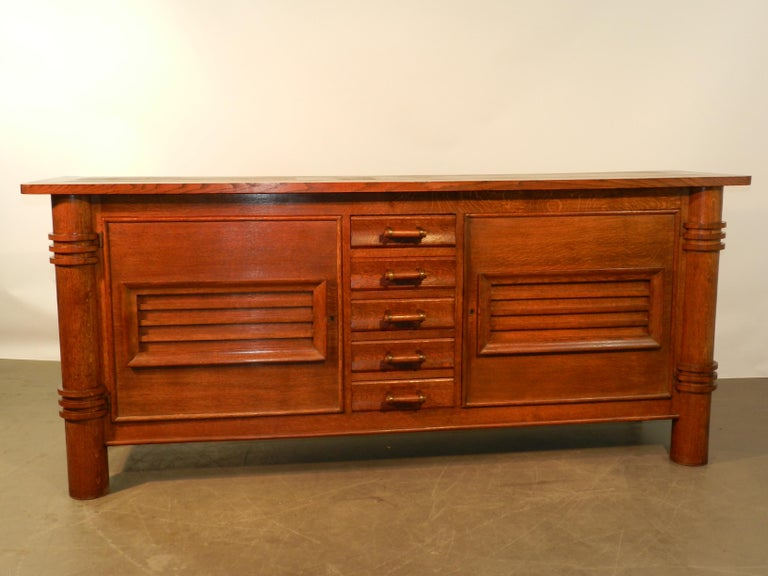 Art Deco Charles Dudouyt Attributed Oak Sideboard, Edition La Gentilhommiere For Sale