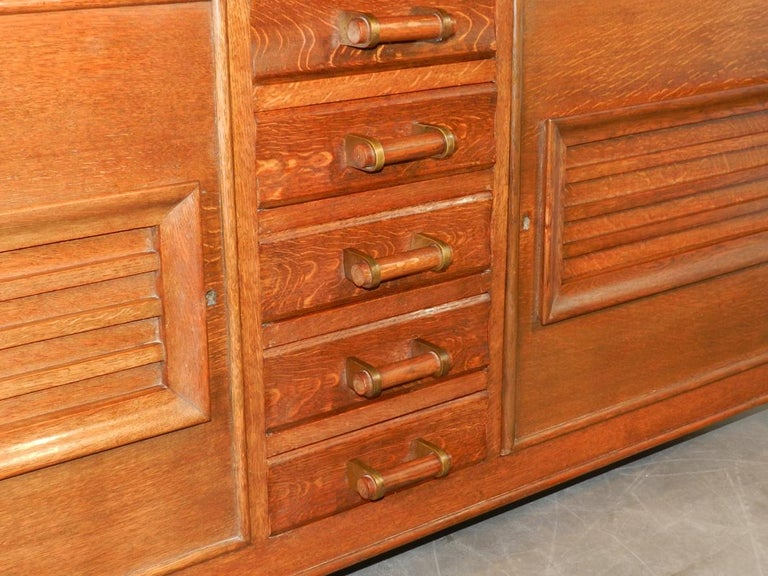 Charles Dudouyt Attributed Oak Sideboard, Edition La Gentilhommiere For Sale 3