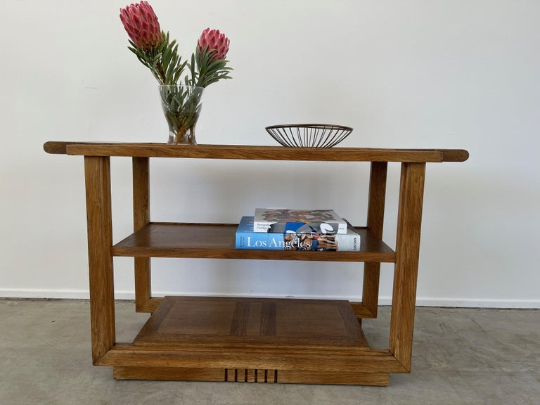 Carved Charles Dudouyt Console Table For Sale