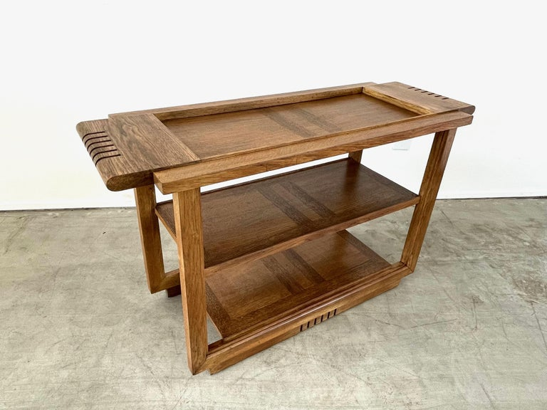 Oak Charles Dudouyt Console Table For Sale