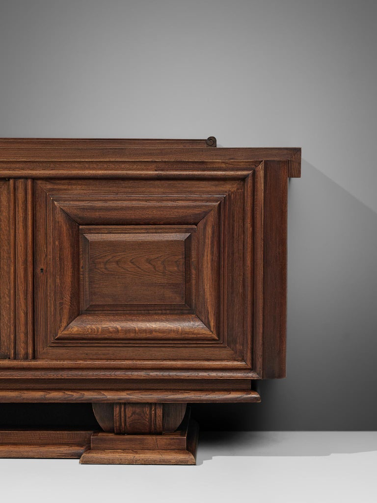 Charles Dudouyt Credenza in Stained Oak In Good Condition For Sale In Waalwijk, NL