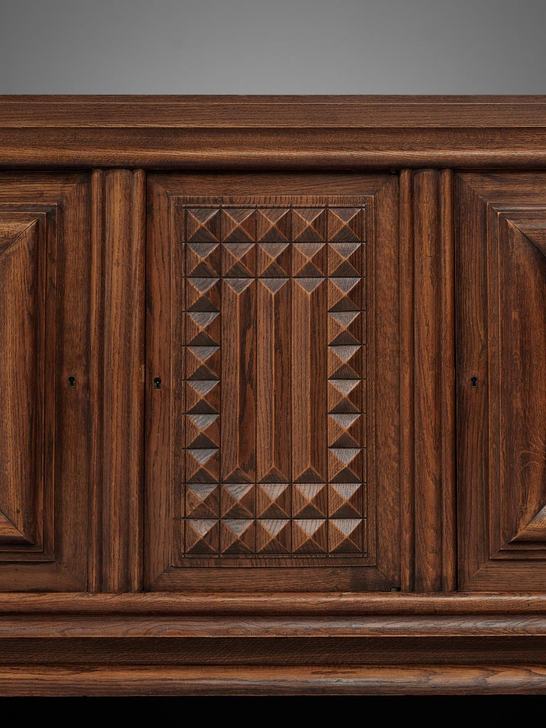 Mid-20th Century Charles Dudouyt Credenza in Stained Oak For Sale