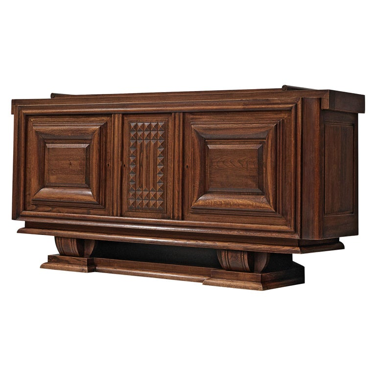 Charles Dudouyt Credenza in Stained Oak For Sale