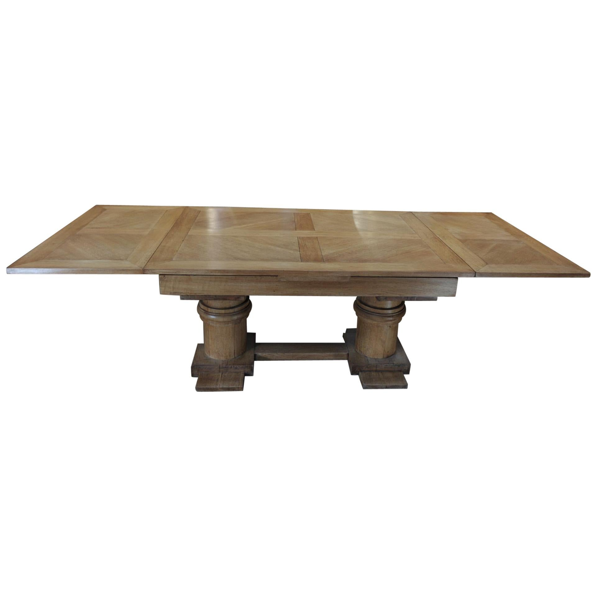 Charles Dudouyt Dining Oak Table with Extensions, circa 1930