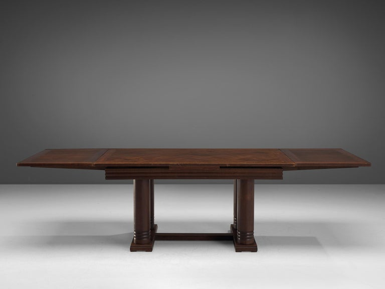 Mid-Century Modern Charles Dudouyt Extendable Table in Dark Stained Oak For Sale