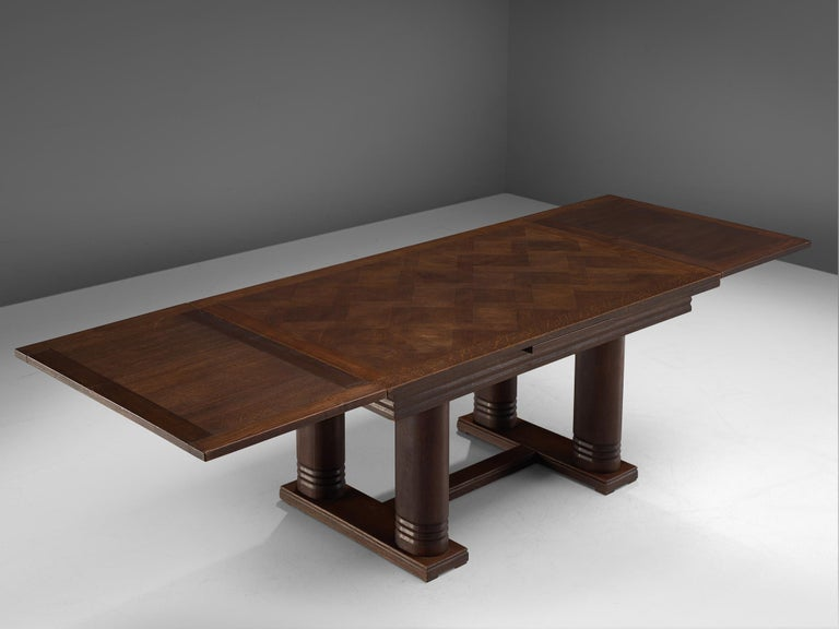 French Charles Dudouyt Extendable Table in Dark Stained Oak For Sale