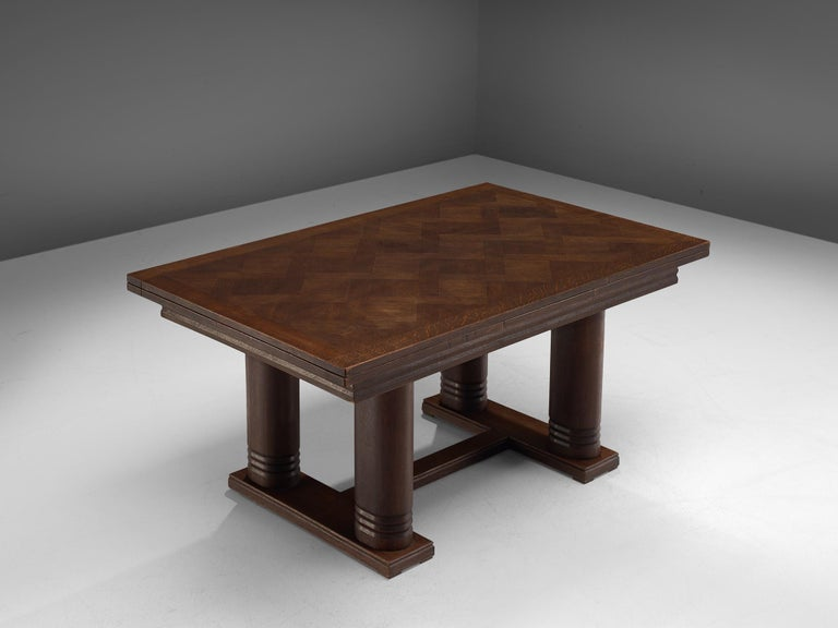 Charles Dudouyt Extendable Table in Dark Stained Oak In Good Condition For Sale In Waalwijk, NL