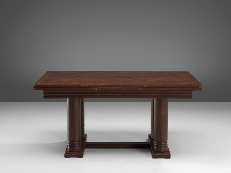Mid-20th Century Charles Dudouyt Extendable Table in Dark Stained Oak For Sale