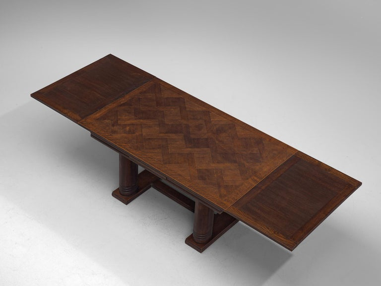 Charles Dudouyt Extendable Table in Dark Stained Oak For Sale 2