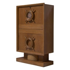 Charles Dudouyt Nautical Bar Cabinet in Oak, 1940s