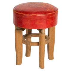 Charles Dudouyt, Pair of Round Midcentury Stools, France, circa 1950