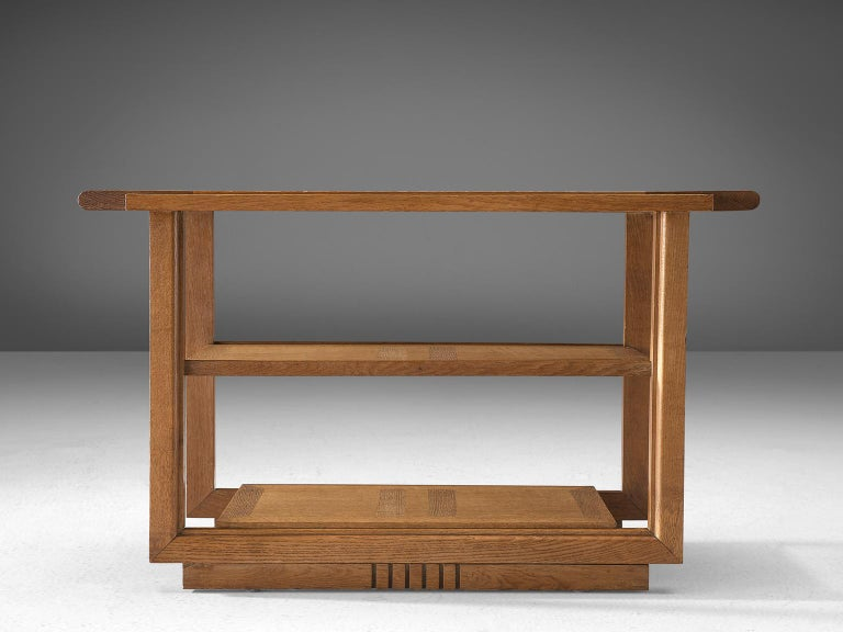 Charles Dudouyt Rare Art Deco Oak Side Table In Good Condition For Sale In Waalwijk, NL