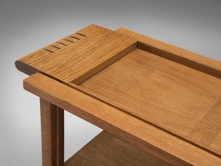 Mid-20th Century Charles Dudouyt Rare Art Deco Oak Side Table For Sale