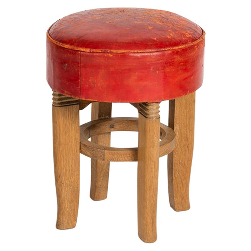 Charles Dudouyt, Round Midcentury Stool, France, circa 1950