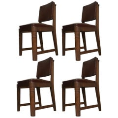 Charles Dudouyt Set of 4 Oak Chairs, circa 1940