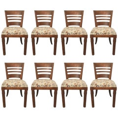 Charles Dudouyt, Set of Eight art deco Oak Chairs, circa 1940