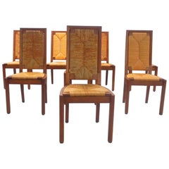 Charles Dudouyt Set of Eight Dining Chairs