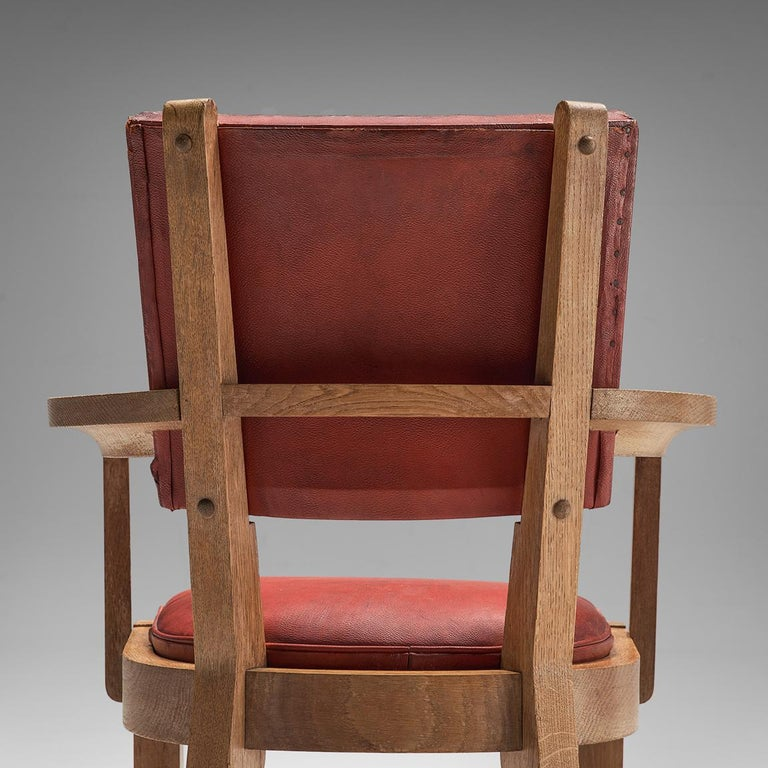 Charles Dudouyt Set of Red Leather Dining Chairs in Oak 4