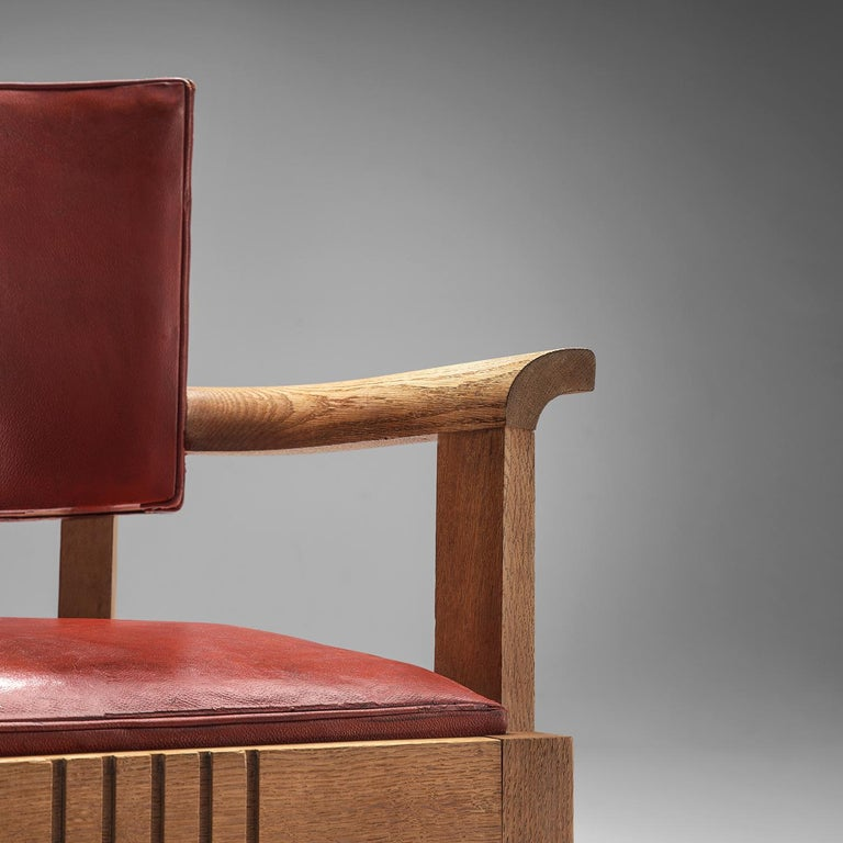 Art Deco Charles Dudouyt Set of Red Leather Dining Chairs in Oak